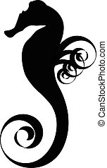 Seahorse black silhouette - Sea horse black silhouette...