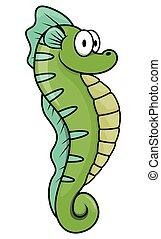 seahorse, caricatura, ilustración