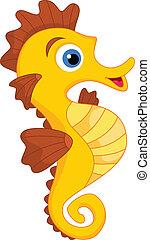 seahorse, carino, cartone animato