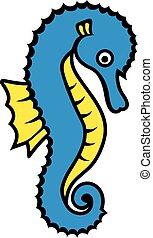 Seahorse cartoon with contour