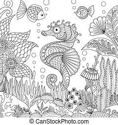 seahorse, corail