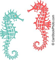 Coral & turquoise color seahorse illustration