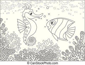 seahorse, coraux, butterflyfish