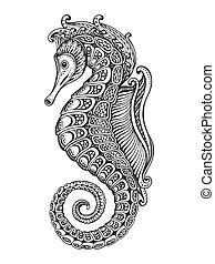 seahorse, dessiné, graphique, main, orné