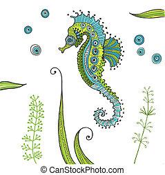 seahorse, exotique, vecteur, -, fond