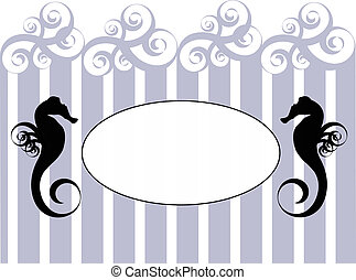 Seahorse frame with stripes - Blank oval on the blue and...