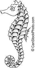 seahorse, lina sztuka, ilustracja