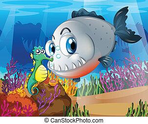 seahorse, mare, piranha, sotto