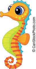 seahorse, mignon, dessin animé