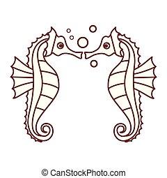 seahorse, modèle, isolé, icône