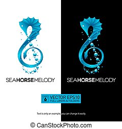 Seahorse music concept with treble clef. Isolated vector illustration logo.