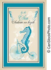 Seahorse on bicycle poster