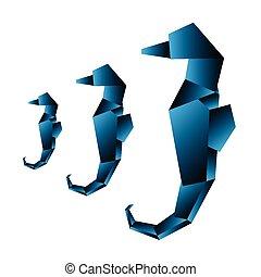 seahorse, origami, vektor