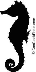 seahorse, sylwetka, ilustracja