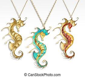 seahorse, trois, or