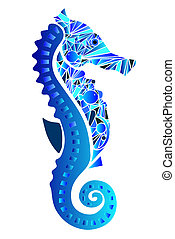 seahorse compound with colors in shades of blue