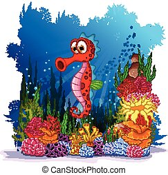 seahorse with sea life background - vector illustration of...
