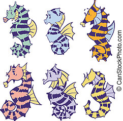seahorses, ベクトル, 芸術, 漫画, クリップ