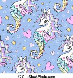 seahorses, seamless, einhörner, vektor, pattern., marine, mähne, blaues, hintergrund., regenbogen