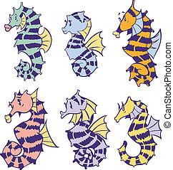 seahorses, vecteur, art, dessin animé, agrafe