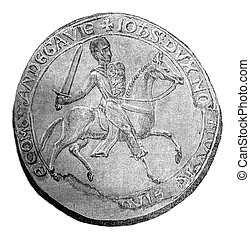 Seal against John Lackland, vintage engraving. - Seal ...