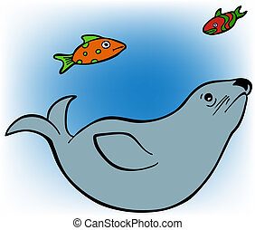 Seal and Fish - Lonesome seal swimming in the ocean with...