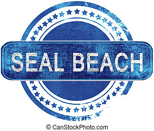 seal beach grunge blue stamp. Isolated on white.