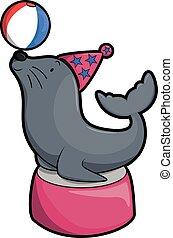 Seal circus illustration