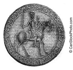 Seal Count Ranulf of Chester, vintage engraving. - Seal ...