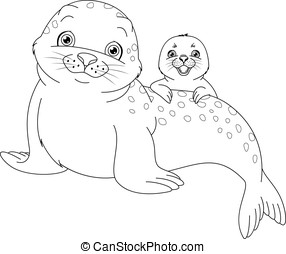 Seal Family Coloring Page