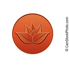 Seal leather lotus plant inside circle logo vector