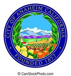 Seal of Anaheim, California, USA. Vector Format.