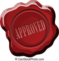 Illustration of a wax seal with the word approval. Represents approval, consent or permission.