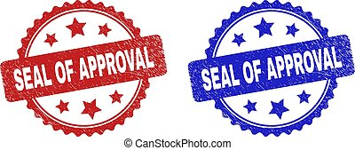 Rosette SEAL OF APPROVAL seal stamps. Flat vector grunge seal stamps with SEAL OF APPROVAL caption inside rosette shape with stars, in blue and red color versions. Watermarks with corroded texture.
