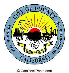 Seal of Downey, California, USA. Vector Format.