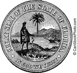 Seal of Florida, USA, vintage engraved illustration.