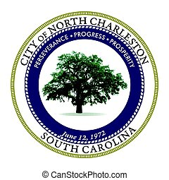 Seal of North Charleston, South Carolina, USA. Vector...