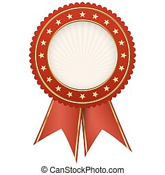 seal of quality red with ribbons