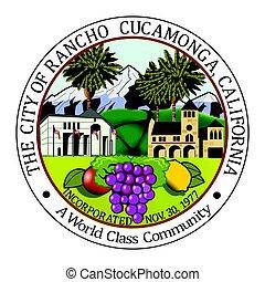 Seal of Rancho Cucamonga, California, USA. Vector Format.