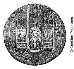 Seal of Richard III, vintage engraving. - Seal of Richard ...