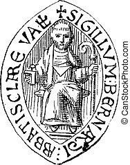 Seal of Saint Bernard, vintage engraving.