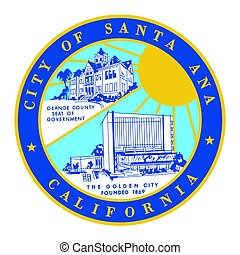 Seal of Santa Ana, California, USA. Vector Format.
