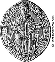 Seal of the abbey of Saint-Denis (twelfth century), vintage...