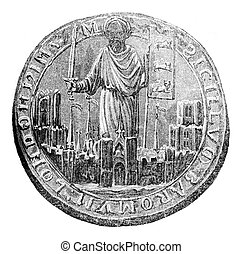 Seal of the Barons London, vintage engraving. - Seal of the ...