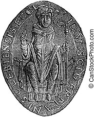 Seal of the Cathedral of Selby, vintage engraving. - Seal of...
