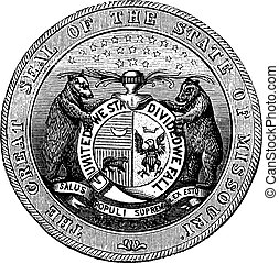 Seal of the State of Missouri, vintage engraving