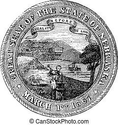 Seal of the State of Nebraska, vintage engraved illustration
