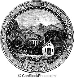 Seal of the State of Nevada, vintage engraved illustration....