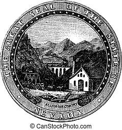 Seal of the State of Nevada, vintage engraved illustration