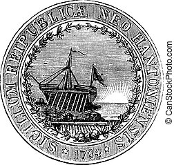 Seal of the State of New Hampshire, vintage engraved illustration